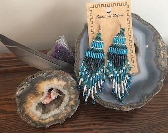 Long beaded southwestern earrings