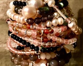 Bracelet Precious stones agate gemstone Bracelet 925 Silver