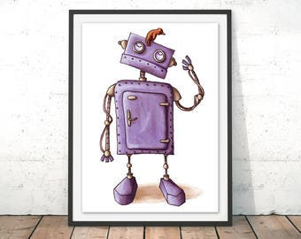 Cute Robot and Bird Art Print, Android Illustration, Robot Cartoon Wall Art, Kids Bedroom, Baby Art, New Baby Gift, by Amberin Huq
