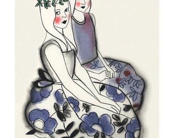 "Fashion illustration art print  Wood Nymphs  - 4"" X 6"" "" print - 4 for 3 SALE"