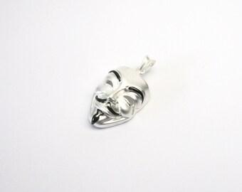 Mask Vendetta guy Fawkes jewelry pendant silver 925 silver pendant Pendant
