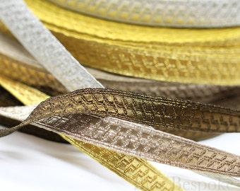 "PAX 1/2"" Geometric Bullion Braid Trim: 5 Yards or 27 Yard Roll"