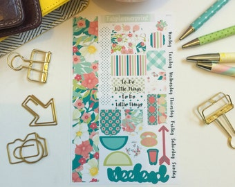 Weekly personal planner stickers, flower stickers, floral, shabbychic, Personal Planner Kit, Personal sticker kit, planner stickers, WP24