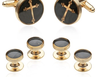 Gold Carbon Fiber Cross Tuxedo Formal Set Cufflinks and Studs for Christians with Gift Box