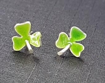Shamrock Studs Green Enamel Sterling Silver  Post Earrings Clover Earrings Irish Studs Lucky Shamrock 4 Leaf Clover
