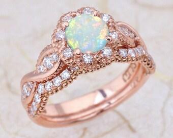 Opal wedding set Etsy