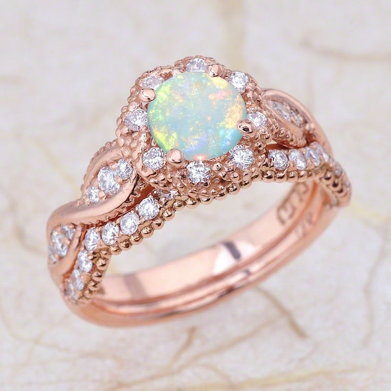 Opal 14K Vintage Rose Gold Engagement Ring And Wedding Band
