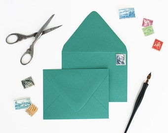 Envelopes - A7 Size - Set of 25 - Emerald Color - Deep V Euro Flap