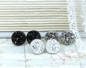 Druzy Studs Set Druzy Stud Earrings Hypoallergenic Faux Druzy Earrings Set Of 3 Druzy Earrings