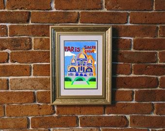 Paris France Print, Montmatre, Sacre Couer, French, Church, Travel Poster, City Art, Vintage Wall Art, Modern, Minimalist Design,
