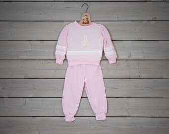 Vintage Pink Teddy Bear Appliqued Sweat Shirt/Pant Set (Size 2T)