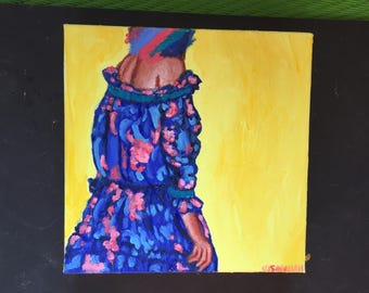 Girl in Blue and Pink Dress Original Oil Painting