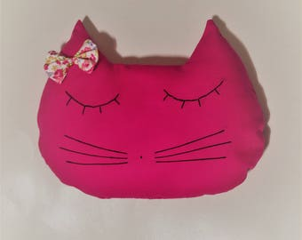hot pink pillow / decor / cat / cat. French manufacturing