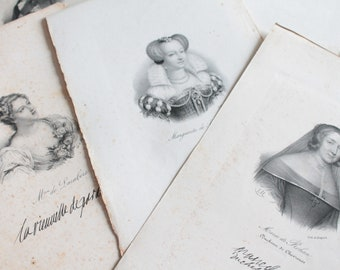 Beautiful old portraits, about 1840 Delpech old lithograph of famous women of the era, with signature ILL171297