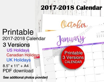 Printable 2018 Calendar, 2018 Wall Calendar, 2018 Planner (USA / Canada / UK) A4 Letter Size PDF