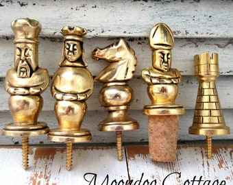 Awesome Set of Five Chess Piece Solid Brass Wine Stoppers