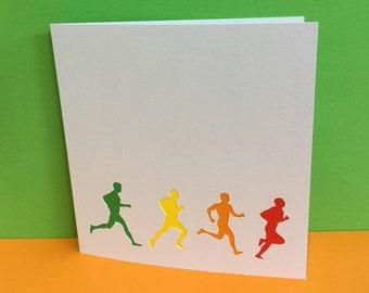 Running Card, Marathon Card, Card For a Runner - Paper Cut - Handmade Greeting Card - Blank Card