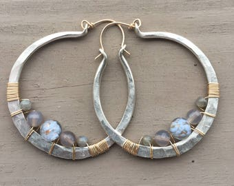 Sterling Silver Hoop Earrings Mixed Metal Earrings Wire Wrap Earrings large Hoop Earrings Daniellerosebean Large Hoops Silver Hoops