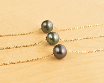 Floating Pearl Necklace, Pearl Necklace, Gold Necklace, Bridesmaid Gift, Pearl Jewelry