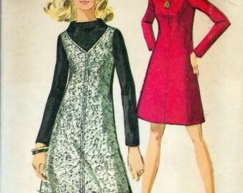"Vintage 1969 Simplicity 8441 Mod Dress Sewing Pattern Size 12 Bust 34"""