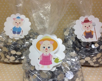 3 Little Pigs, Big Bad Wolf Party Favor Bags with Tags - Set of 10