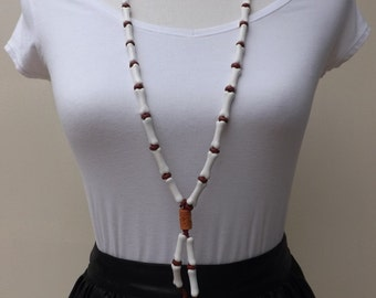 Ceramic bones necklace, really long necklace, ceramic beads from Peru and Greece