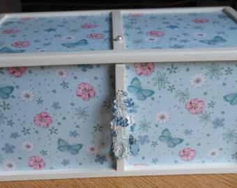 Butterfly wooden box/Jewellery box/Bathroom storage/make-up box/bedroom decor/trinket/storage box