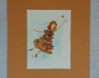 Alice s'envole ! aquarelle et collage de matériaux dans passe-partout