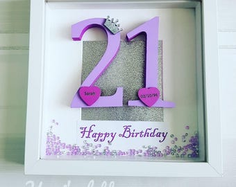 Birthday frame, personalised birthday gift, custom gift, 21st birthday, milestone birthday, keepsake, gift for him, gift for her