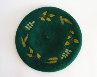 Forest green wool beret with needle felted leaves