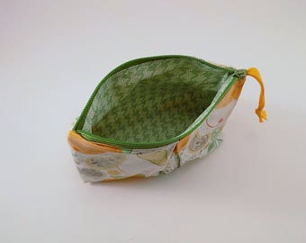 Zippered Pleated Pouch in a Citrus Punch Print Cosmetic Bag Vacation Destination Bag Makeup Bag Cosmetic Bag