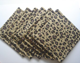Fabric Coasters Leopard Print Brown and Black, Set of Six