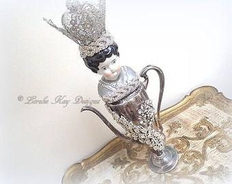 Her Majesty Art Doll Doll Functional Teapot  Silver Shabby Queen Theme Assemblage Art Doll  One-of-a-kind Mixed Media Sculpture