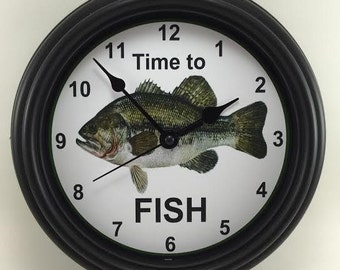 Fisherman's/woman's TIME TO FISH Wall Clock