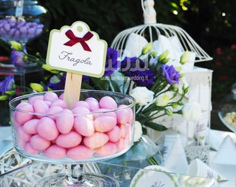 Tags for Candy Bar or Almond sweets_candy Toppers_Tags for cupcakes toppers_Wedding Decoration_Handmade in Italy