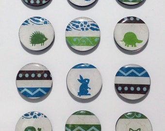 Woodland Critters Fridge Magnets / Refrigerator Magnets / Magnet Set / Animal Magnets / Owl Rabbit Turtle Bird Squirrel Hedgehog