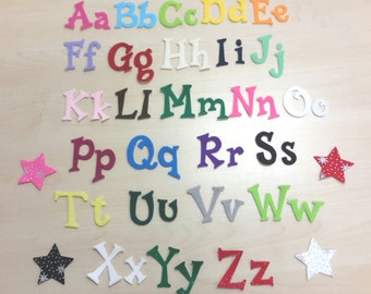 Fun Font Iron on Die Cut Felt Letters / Numbers, Choice of over 26 colours, Uppercase and Lowercase