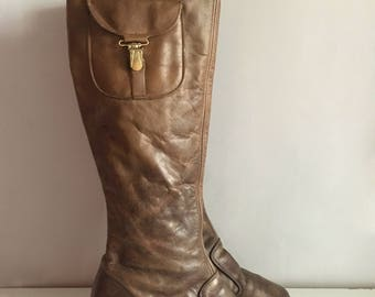 Vintage Shoes Women's 60's Brown Leather, Heeled Boots by Nordtrom (Size: 4)