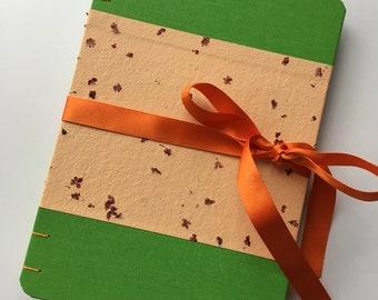 Spring journal, orange notebook, elderflower handmade paper, book cloth, coptic bound notebook, rounded corners