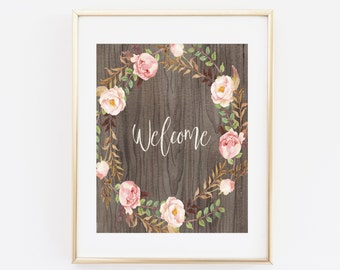 Wooden Welcome art print, Watercolor Welcome sign, Wood printable welcome sign print, Floral Art Print, Rustic Welcome Printable Wall art