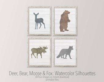 Printable Art 11x14 set of four nursery art Watercolor Deer Bear Moose Fox Gallery wall Woodland nursery silhouettes HEART OF LIFE Design