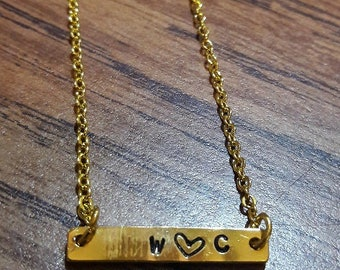 Love Initial Bar Necklace