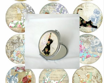 Double Pocket mirror, custom pattern Cats Vintage 62mm