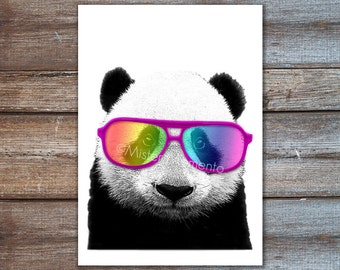 panda bear with rainbow sunglasses art print collage