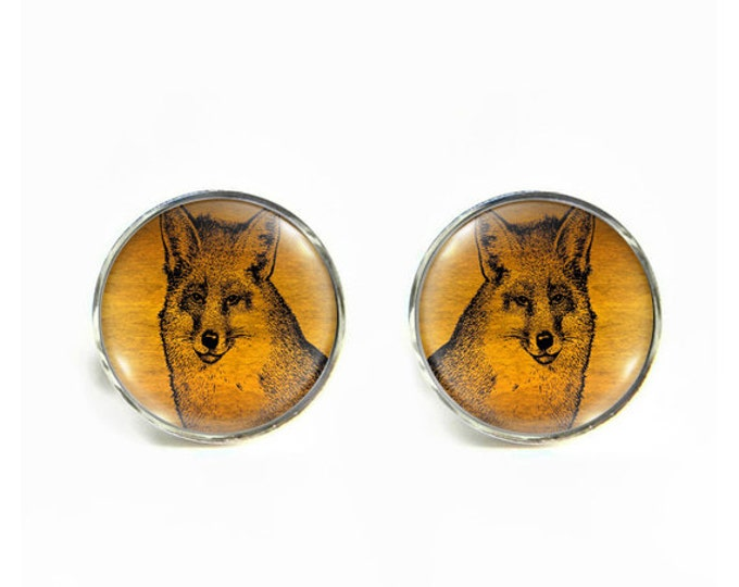 Fox small post stud earrings Stainless steel hypoallergenic 12mm Gifts for her