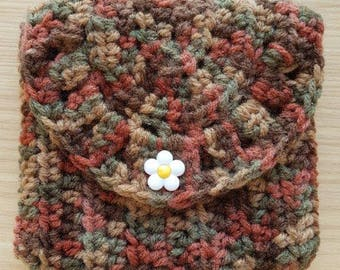 Handmade crochet pouch with a keychain ring (Brownish) #1001
