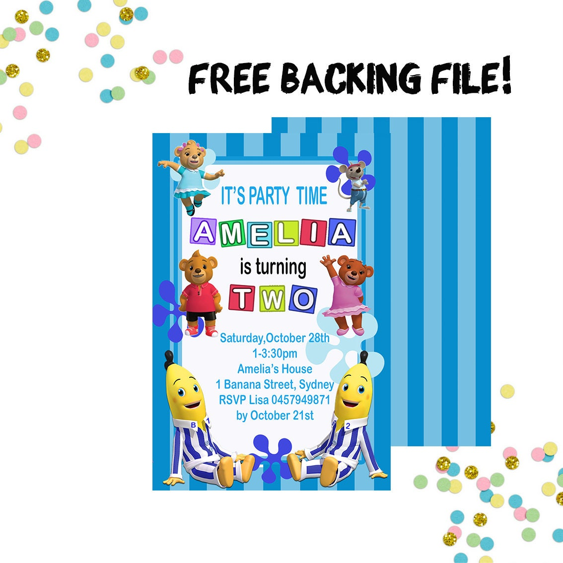 Bananas in Pyjamas Party Invitation