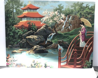 Large Paint By Number |  japanese  Geisha Asian Pagoda