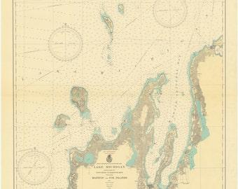 Lake Michigan - Manitou and Fox Islands Historical Map 1935