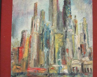 Small  Impressionistic cityscape oil PAINTING vintage 60s hand painted original c1960s  art home decor city landscape